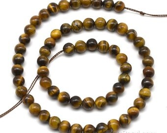 Tigers eye beads, 6mm round, A grade natural gem strand, tiger eye beads, round beads, loose gemstone beads, DIY jewelry, TGE2020
