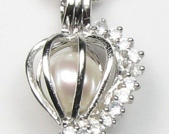 White pearl pendant, wish pearl cage, 925 sterling silver love heart cage pendant, freshwater crystal pendant necklace, 7-8mm, F2010-P