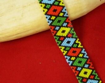 Beadbrickie DIAMONDS + Single Odd Count Peyote Bracelet Pattern