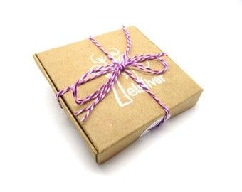 10 X Kraft pip jewellery boxes 90mm x 86mm x 16mm | kraft wedding favour box | flat pack