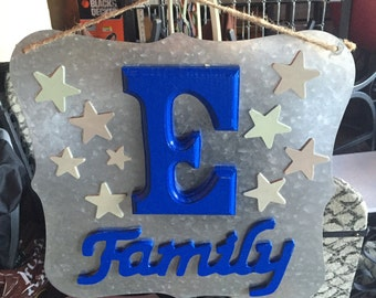 Family Sign with Silver Backing