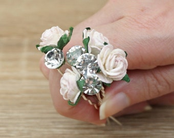 Flower Bobby Pin, Swarovski Bobby Pin, Rose Hair Pins, Wedding Hair Accessories, Paper Flower Bobby Pins, Paper Flower Hair Pin, Bridal