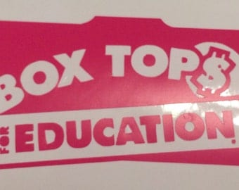 """Box Tops for Education - vinyl logo - decal only - 10x6"""" Perfect for teachers - great gift - place on the item of your choice"""