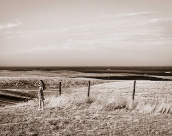Far Away, Interstate 5 Overlook, California - Monochrome Sepia Photographic Print on Fine Art Paper