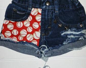 Baseball Distressed Shorts