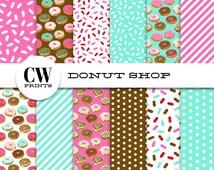 Donuts Digital Paper Pack: 12x12 inch paper, 12 sweets bakery donuts pattern, donut design, Digital Background Paper, Digital Printables,