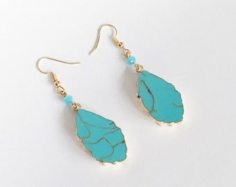 Turquoise dangle earrings | natural stone earrings | bridesmaid earrings | bridesmaid gifts