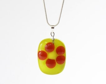 red flower fused glass pendant