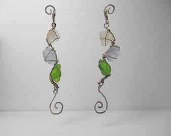 Silver wire authentic sea glass wrapped earrings