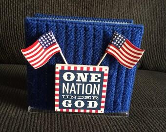 Plastic Canvas Napkin Holder- Patriotic- Flags-One Nation Under God