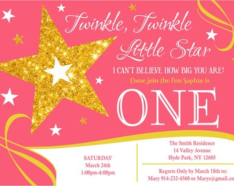 Twinkle, Twinkle, Little Star 1st Birthday Invitation Digital File ONLY