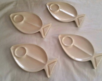 Gulfstream Pottery fish plates with dipping cups