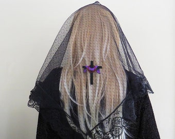Draped Cross Crown of Thorns Embroidered Mantilla Chapel Veil | Catholic Veil | Veil for Lent | Lent Mantilla | The Veiled Woman