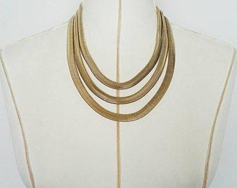 Vintage Gold 70's Snake Necklace