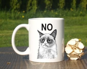Grumpy cat mug-Grumpy cat no-Grumpy cat yes-Grumpu cat smile-Funny coffee mug-Cat lady mug-Starbucks mug-Grumpy cat cup-Christmas gift