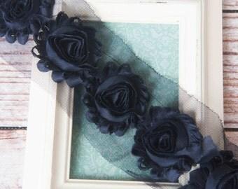 Navy shabby flower trim by the yard, blue shabby rose trim, wholesale flower trim, shabby trim, chiffon trim, flowers by the yard