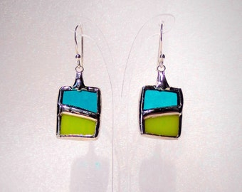 Stained glass earrings * Turquoise and green *.