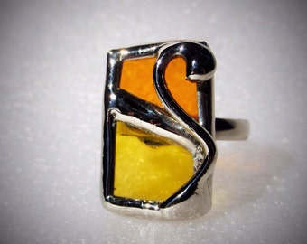 Stained glass Adjustable ring (yellow / red)