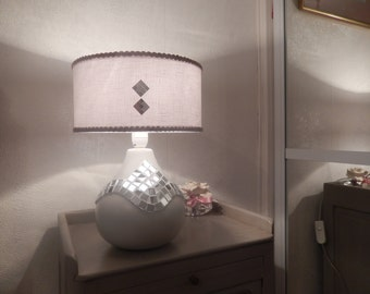 able lamp foot light gray ceramic mosaic mirror adorned with white linen lampshade decorated with mirror on front