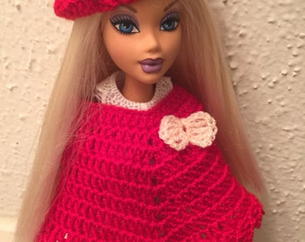 Doll clothes/Barbie Clothes/Handmade Crocheted Poncho and Hat