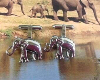 Silver Tone Elephant Cufflinks