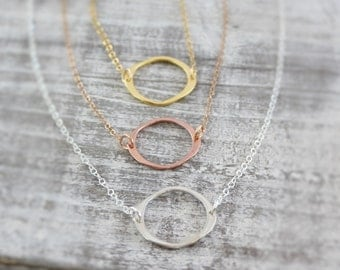 Circle Necklace, Infinity Necklace, Eternity Necklace, Friendship Necklace, Forever Necklace, Karma Necklace, Modern Jewelry,Simple Everyday
