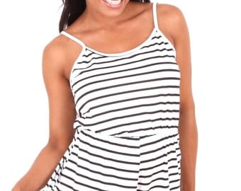 Black and white striped playsuit romper