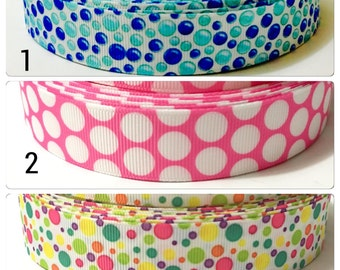 Polka Dot Grosgrain Ribbon,Printed Ribbon for Bows, Grosgrain Ribbon by the Yard