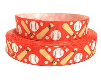 7/8 Baseball Ribbon, baseball grosgrain Ribbon, sports Ribbon, red ribbon, sports grosgrain ribbon