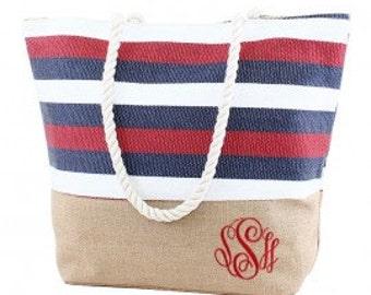 Monogrammable Stripe Print Tote/Beach Bag