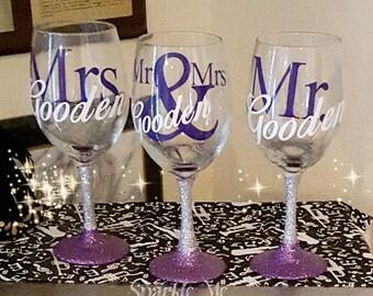 Mr and Mrs 3 glass wine set