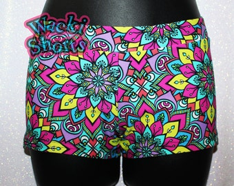 Neon Geometric Flowers - Wacki Shorts  - Cheer, Gymnastics, Yoga, Dance