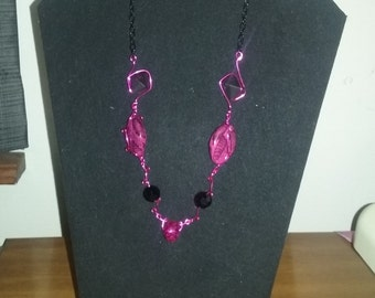 Hot pink and black wire wrapped bead necklace