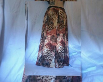 Mixed cheetah print maxi skirt M