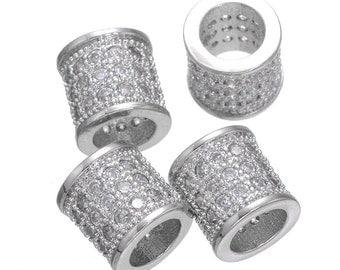 Bulk 5 Silver Micro Pave Large Hole Tube Bead (8mm x 8mm) / CZ Bead / Cubic Zirconia Tube Bead / European Bead