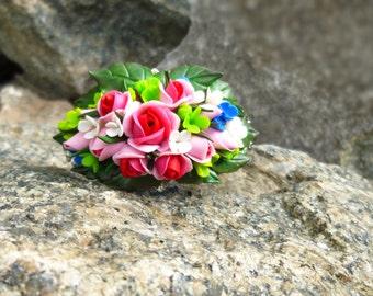 Flower bracelet  Pink bracelet Roses bracelet Women bracelet Boho bracelet Colorful bracelet Floral bracelet Sisters gift