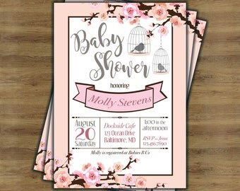 Cherry Blossom Invitation; Cherry Blossom Baby Shower; Girl Baby Shower Invitations; Baby Girl Shower Invitation Printable