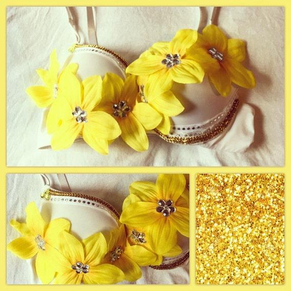 Gold Yellow Daisy Flower Child EDC Festival Rave Bra