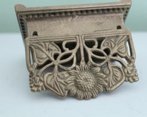 Vintage Brass Stamp Holder, Antique Stamp Box, Postage Box, Brass Stamp Holder,  Sunflower, Jewelry Box, Table Decor, Office Decor