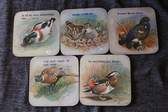 Lot Of 5 Vintage Basil Ede Bird Coasters Kitchen Decor Home