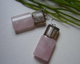 Designer earrings - large with Rose Quartz