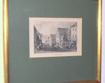 Antique orig steel engraving from 1840 - Oberlahnstein