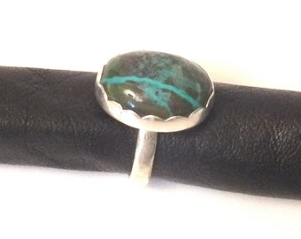 Chrysocolla Sterling Silver Ring - Size  6.25