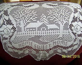 HAND CROCHETED white home sweet home chair back piece