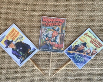 Hopalong Cassidy Vintage Western cupcake topper picks 6ct