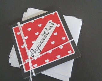 Set Of 5 Mini Note Cards With Envelopes/All  You Need Is Love!/3X3/White Insert