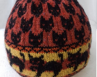 Hand knitted patterned woollen hat