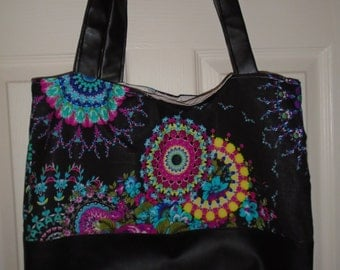leather bottom tote - paisley pattern