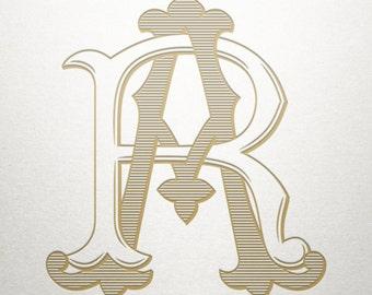 Interlocking Monogram Design - AR RA - Interlocking Monogram - Vintage