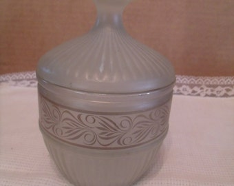 Vintage Frosted Glass Dish with Lid, (# 215/11)